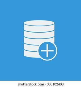 Database-add icon, on blue background, white outline, large size symbol