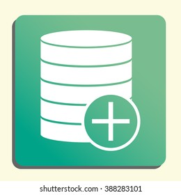 Database-add icon, on button style green background, yellow light, shadow