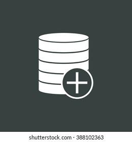 Database-add icon, on dark background, white outline, large size symbol