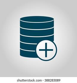Database-add icon, on grey background, blue outline, large size symbol