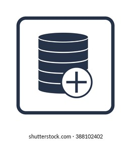 Database-add icon, on white background, rounded rectangle border, blue outline