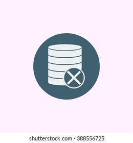 Database-cancel icon, on blue circle background, white outline