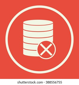Database-cancel icon, on red background, white circle border, white outline
