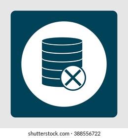 Database-cancel icon, on white circle background surrounded by blue