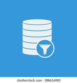 Database-filter icon, on blue background, white outline, large size symbol