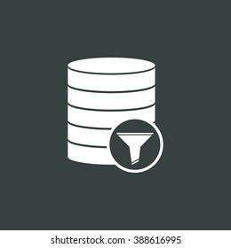Database-filter icon, on dark background, white outline, large size symbol