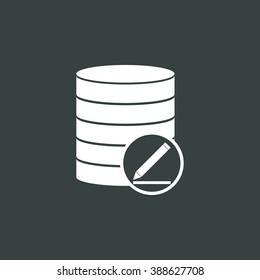 Database-modify icon, on dark background, white outline, large size symbol