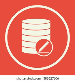 Database-modify icon, on red background, white circle border, white outline