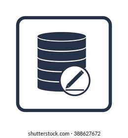 Database-modify icon, on white background, rounded rectangle border, blue outline