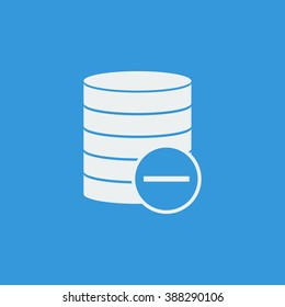Database-remove icon, on blue background, white outline, large size symbol