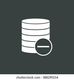 Database-remove icon, on dark background, white outline, large size symbol