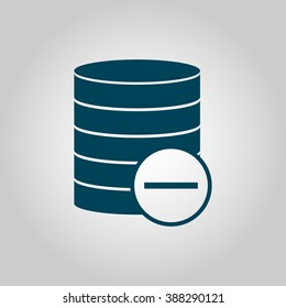 Database-remove icon, on grey background, blue outline, large size symbol