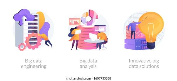 Databases and datacenters hardware. Digital information storage. Big data engineering, big data analysis, innovative big data solutions metaphors. Vector isolated concept metaphor illustrations.