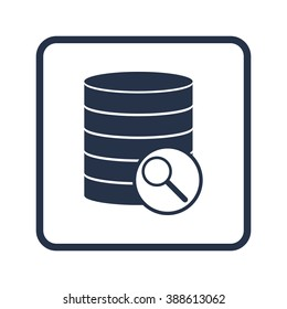 Database-search icon, on white background, rounded rectangle border, blue outline