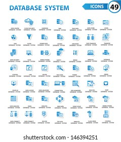 Database,Server computer,Data security,Technology icons,Blue version,vector