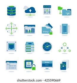 Datacenter flat colored realistic icon set with different elements for work system vector illustration