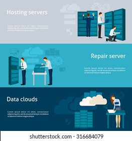 Datacenter horizontal banner set with hosting servers and data clouds elements isolated vector illustration