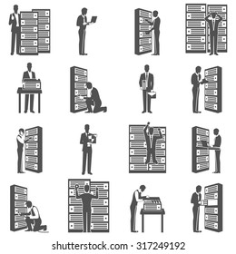 Datacenter icons set with computer servers and technician silhouettes isolated vector illustration
