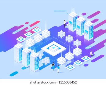 Datacenter isometric vector illustration. Abstract 3d hosting server or data center room background. Network or mainframe infrastructure website header layout. Computer storage or farming workstation.