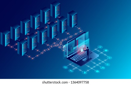Datacenter server room cloud storage technology and big data processing Protecting data security concept. digital information. isometric. dark neon cartoon vector