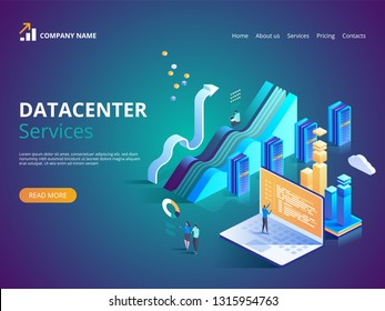 Datacenter Services. Internet data center connection, administrator of web hosting concept. Vector isometric illustration for landing page, web design, banner and presentation.