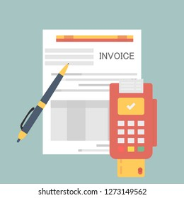 dataphone credit card document payment financial item icon. Invoice documents with credit card and terminal. Vector illustration