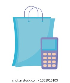 dataphone device with bag shopping