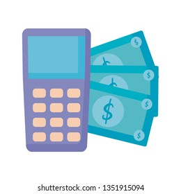 dataphone device with bills dollar
