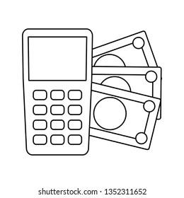 dataphone device with bills money