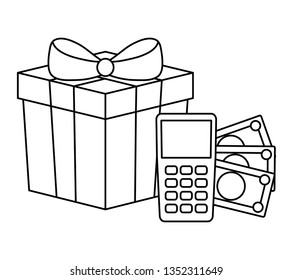 dataphone device with bills money and gift box