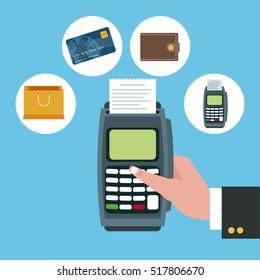Dataphone and shopping icon set design