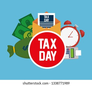 dataphone tax report with bills and clock