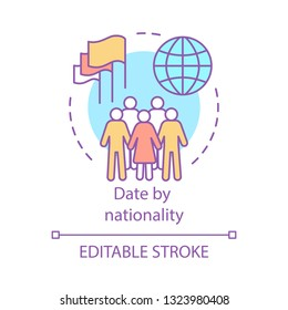 Date by nationality concept icon. Ethnic matchmaking. Find love by national origin idea thin line illustration. Same race, ethnicity online dating. Vector isolated outline drawing. Editable stroke