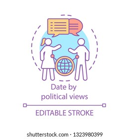Date by political views concept icon. Find love by same beliefs idea thin line illustration. Ideology based matchmaking. Global dating search feature. Vector isolated outline drawing. Editable stroke