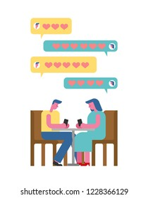 Date in cafe with phone. Virtual date smartphone. Love chat. rendezvous at table. Man and woman. Love couple