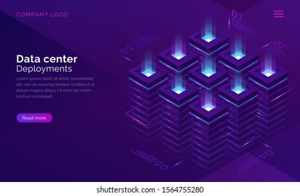 Date center isometric concept vector. Server room with racks, virtual supercomputer internet technology, database infographic infrastructure, cloud information storage on ultraviolet landing page