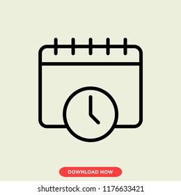 Date concept line icon. Simple element illustration. Date concept outline symbol design. Can be used for web and mobile UI/UX. Modern vector style. Векторная графика
