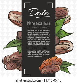 date fruit vector menu design templates. Vector fruit illustration with hand drawn doodles for greeting card, banner