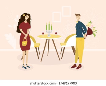 Date of a happy couple in a restaurant. Romantic meeting of women in a cafe. Nearby is a table with glasses and candles. Concept of a romantic dinner of a lesbian couple. Meeting of LGBT members.