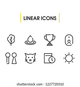 Date icon with tree, wc and scroll up symbols. Set of trophy, bathroom, pussy icons and mouse concept. Editable vector elements for logo app UI design.