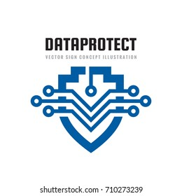 Date protection - vector logo template concept illustration. Abstract shield symbol with electronic design elements. Antivirus creative sign. Guard security technology icon.