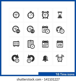 Date and time icons set. Vector black pictograms for business, management, web, internet, computer and mobile apps, interface design: clock, alarm, bell, calendar, reminder, organizer symbols