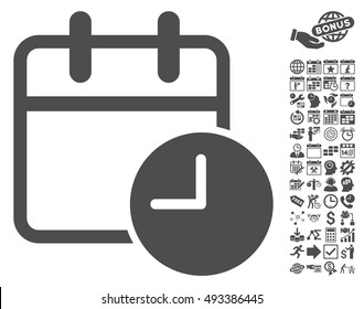 Date Time pictograph with bonus calendar and time management graphic icons. Vector illustration style is flat iconic symbols, gray color, white background.