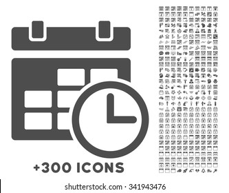 Date And Time vector icon with additional 300 date and time management pictograms. Style is flat symbols, gray color, rounded angles, white background.