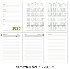 Datebook 2020 year. Diary 2020. Daily planner with calendar for 2018, 2019, 2020, 2021 years. Template for layout of diary for any year. Design office book to every day with templates, calendar