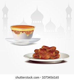 Dates fruits with arabic coffe cup isolated on white backgroun. ramadan iftar food