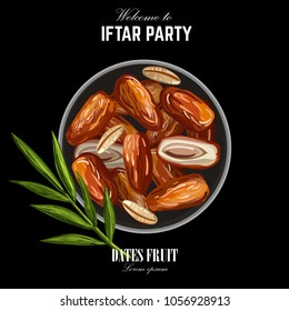 Dates for Iftar Party. Hand drawn vector illustration of dried dates Ramadan Iftar food on the plate with palm tree brunch. Isolated background. Flat design