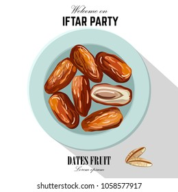 Dates for Iftar Party. Hand drawn vector illustration of dried dates Ramadan Iftar food on the plate. Isolated background. Flat design