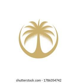 Dates tree vector logo. Arabian dates logo.