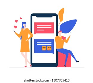 Dating app - flat design style colorful illustration on white background. Composition with characters, boy and girl chatting online using mobile application, image of a big smartphone, like buttons